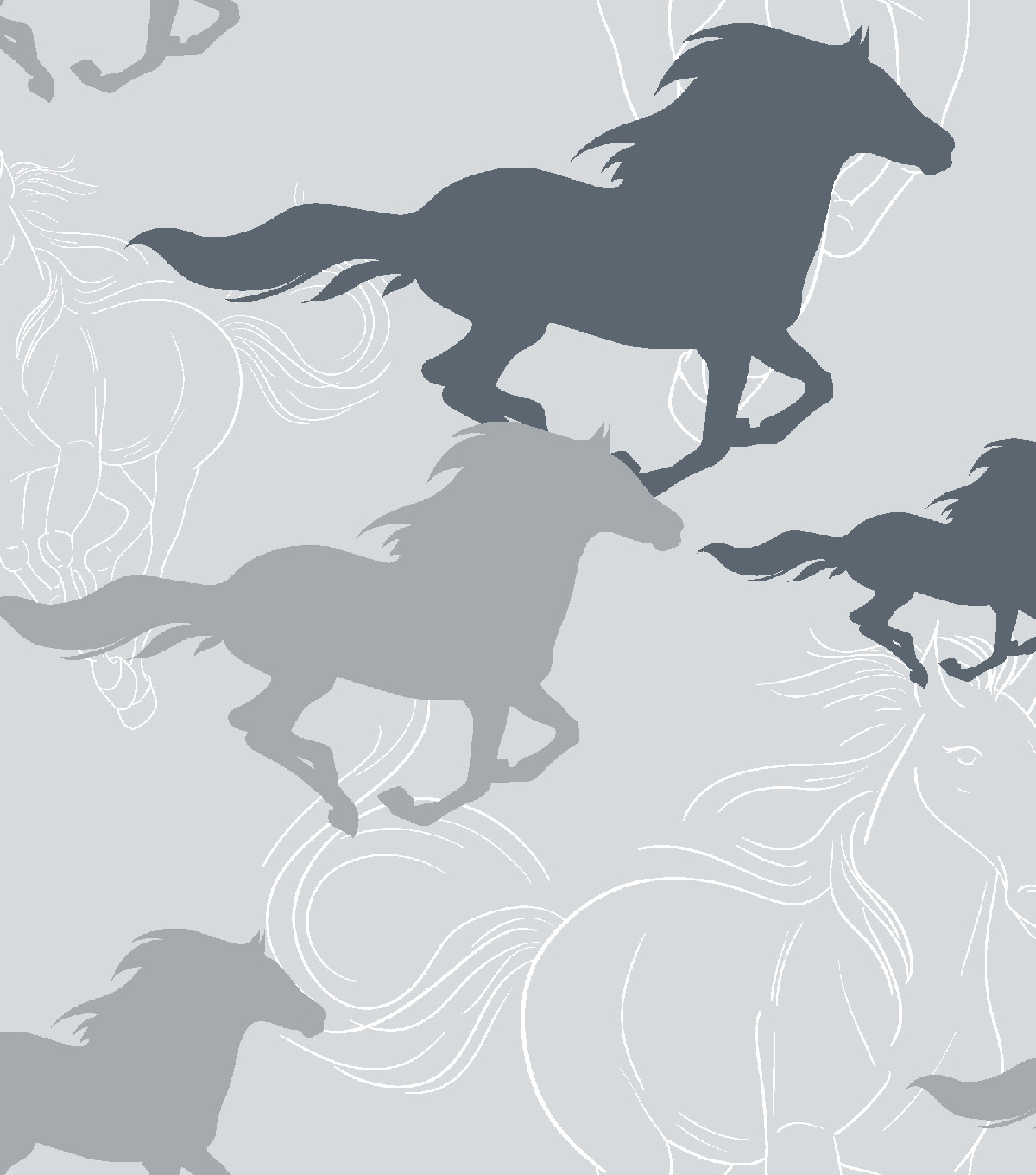 Snuggle Flannel Fabric -Horses Running Sketch Gray