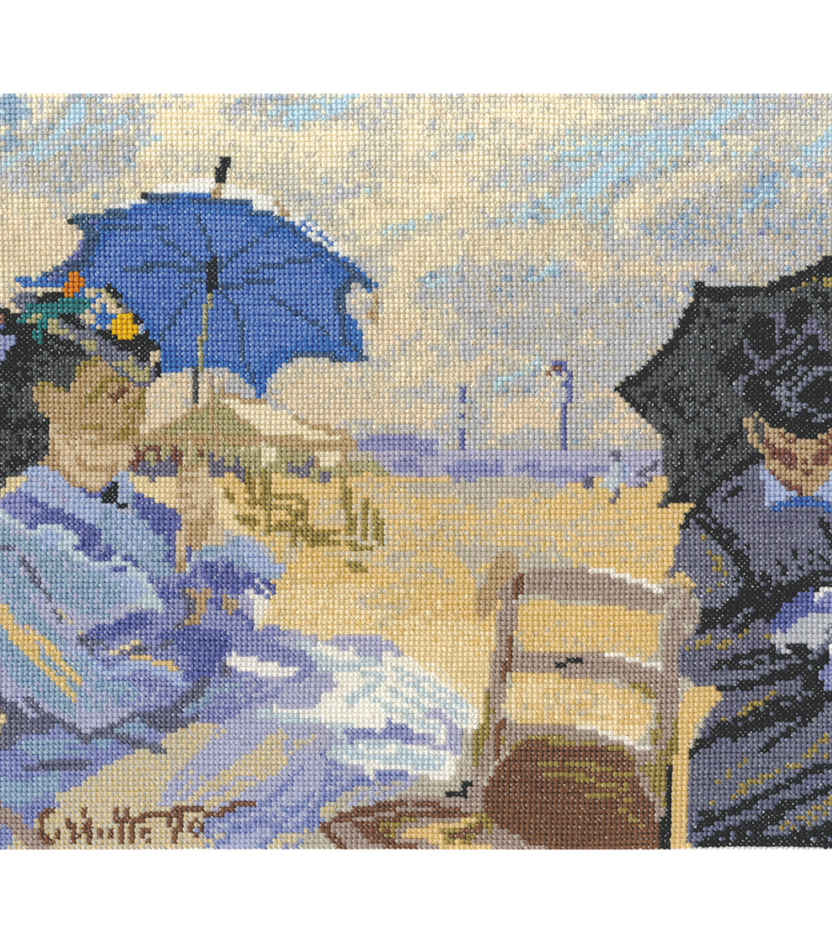 DMC 10.5\u0027\u0027x12.5\u0027\u0027 Counted Cross Stitch Kit-The Beach at Trouville