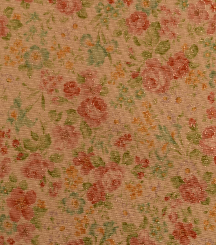 Vintage Premium Cotton Fabric 44\'\'-Yellow & Metallic Mini Garden   JOANN
