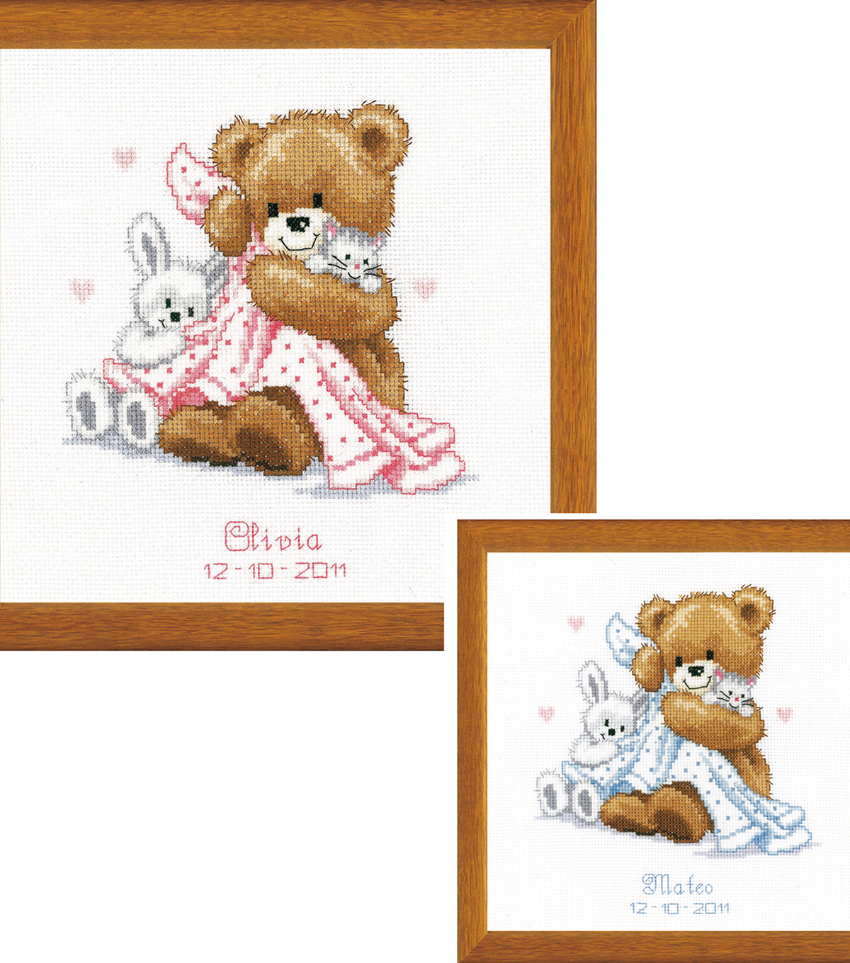 Bear With Blanket On Aida Counted Cross Stitch Kit 14 Count