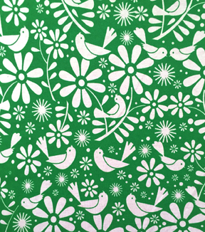 Doodles Collection Interlock Fabric-Birds Green/White