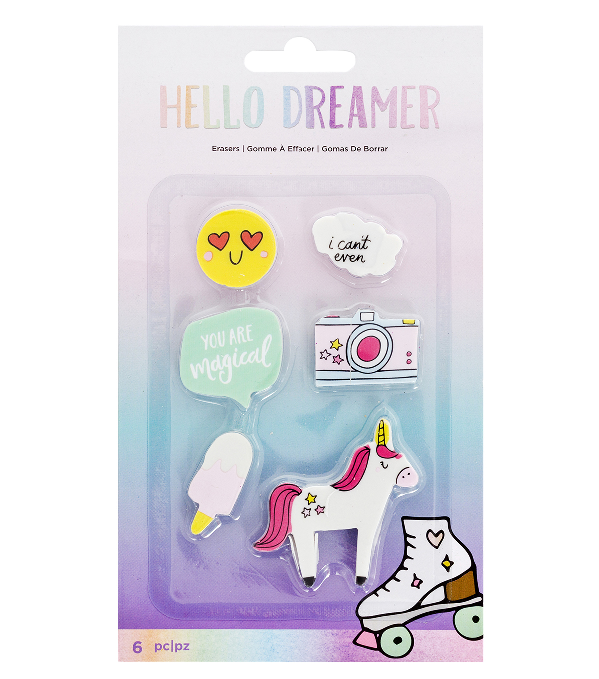 American Crafts Hello Dreamer 6 pk Erasers