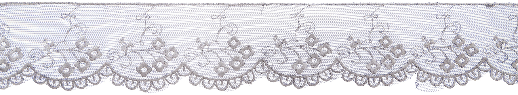 Wrights Embroidered Scalloped Mesh Lace Trim 2\u0027\u0027x10 yds-Light Gray