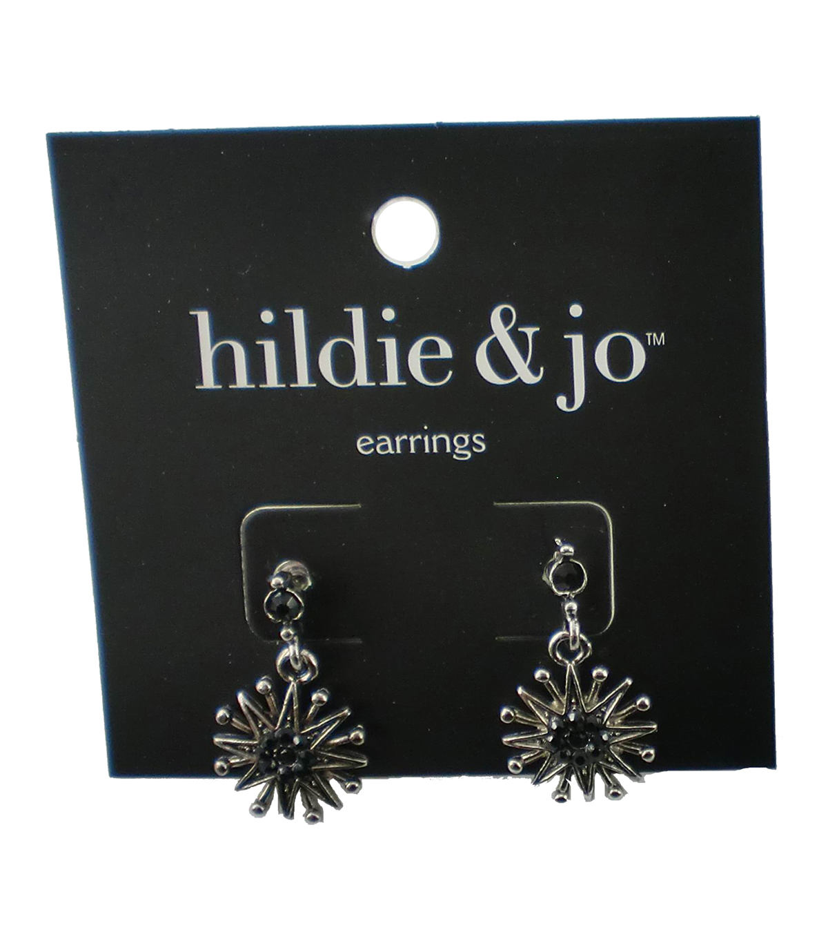 hildie & jo Starburst Silver Earrings-Gray Crystals