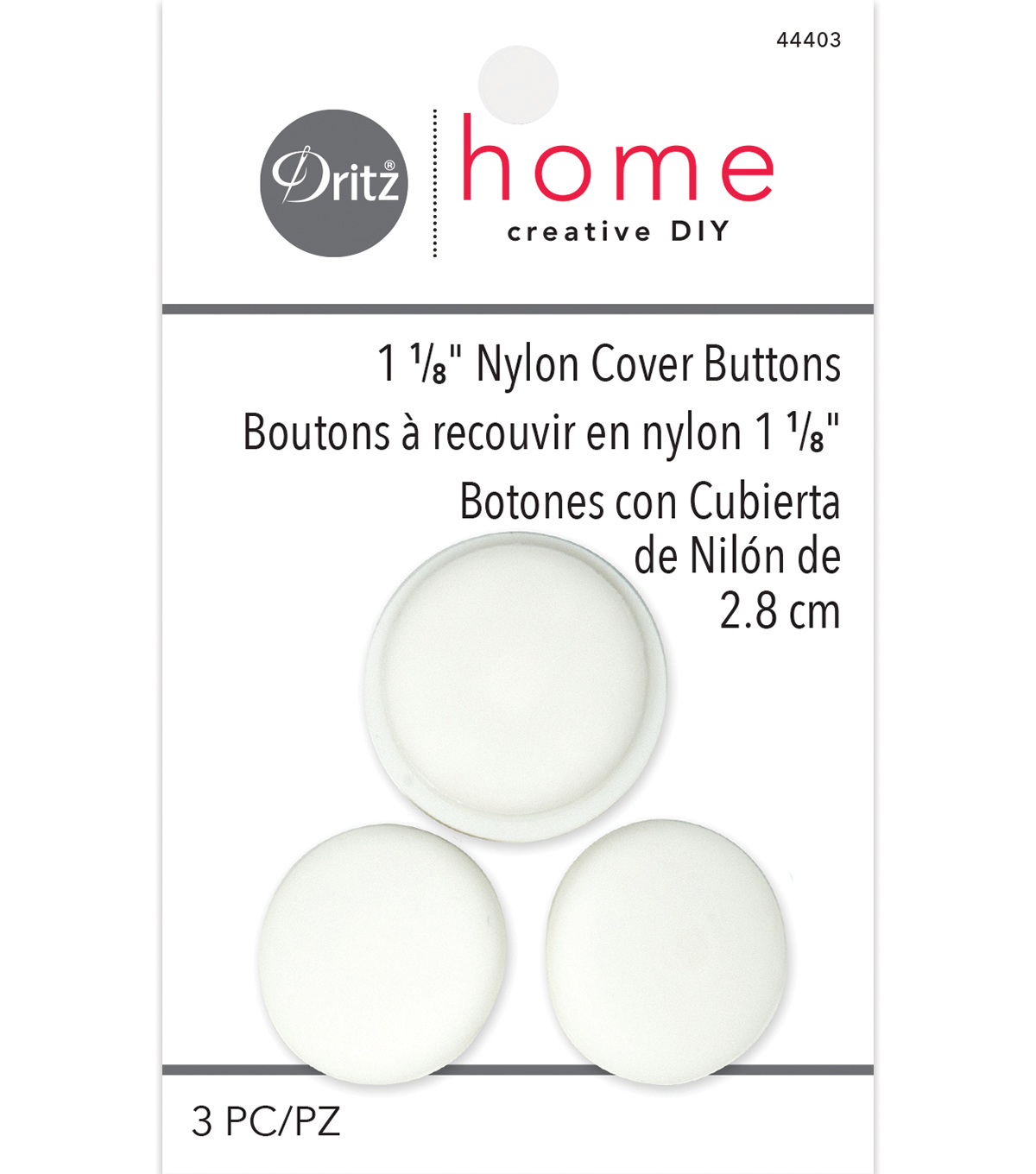 Dritz Home 1.13\u0022 Nylon Upholstery Cover Buttons Round 3pcs Size 45