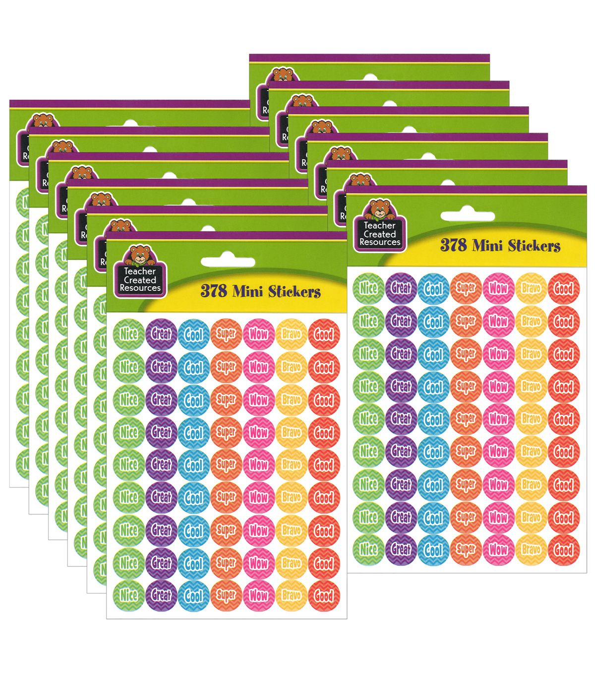 Teacher Created Resources Chevron Mini Stickers 12 Packs