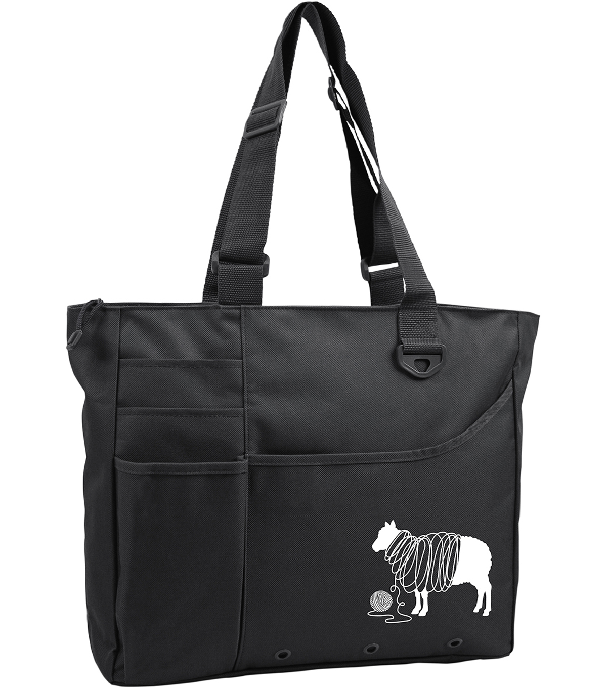 Knit Happy Unwound Sheep Bright Bag 15\u0022X13\u0022X4\u0022-Black