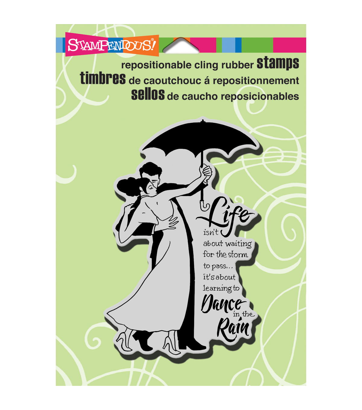 Stampendous Cling Rubber Stamp 5.5\u0022X4.5\u0022 Sheet-Rain Dance