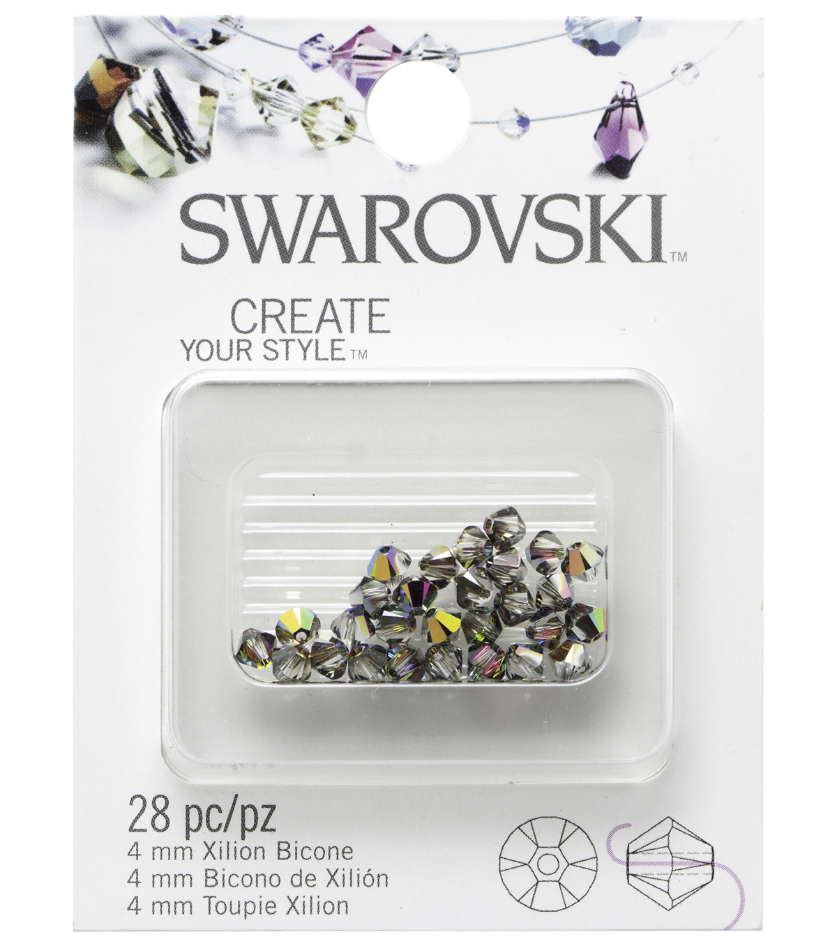 Swarovski Create Your Style 28 pk 4mm Bicone Vitrail Beads