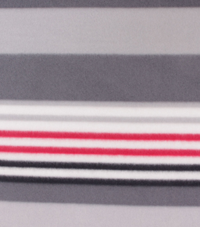 Blizzard Fleece Fabric-Classic Red, White & Gray Stripes