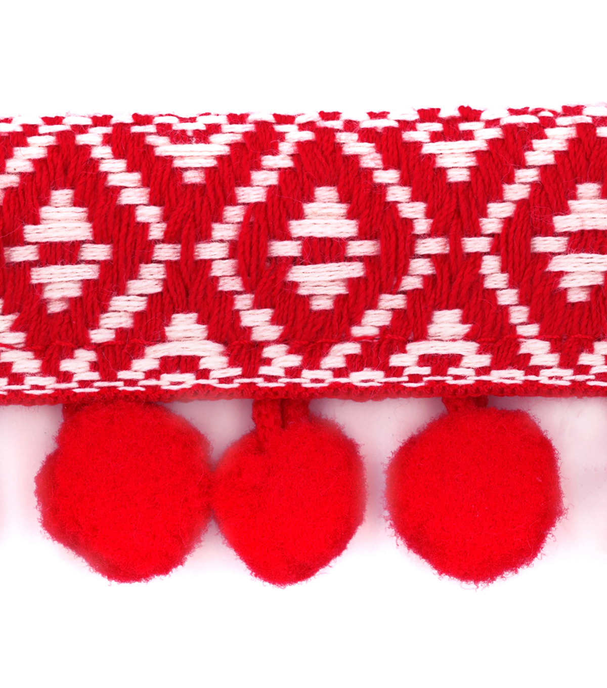 Simplicity Trim-1 1/2\u0022 Jacquard Pom Red Natural