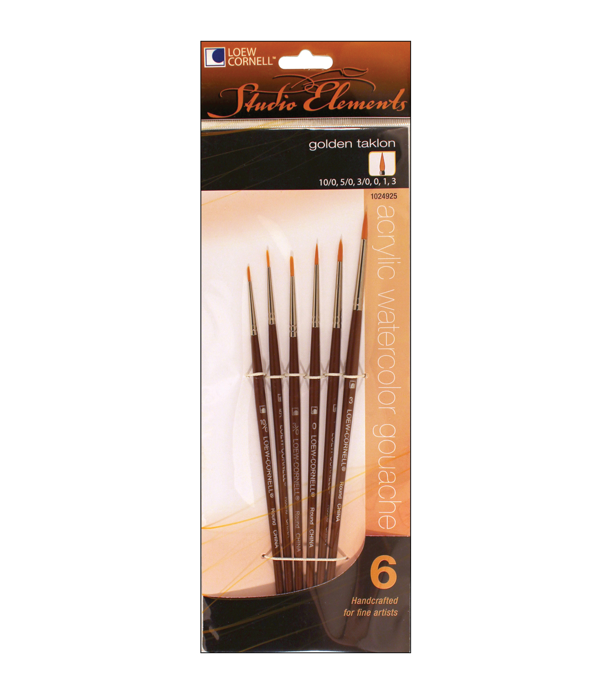 Loew-Cornell Studio Elements 6 pk Round Golden Taklon Brushes