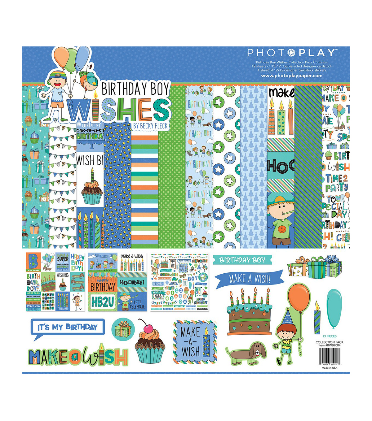 PhotoPlay Collection Pack 12\u0022X12\u0022-Birthday Boy Wishes