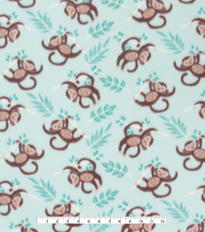 Blizzard Fleece Fabric 59\u0022-Monkey On Aqua