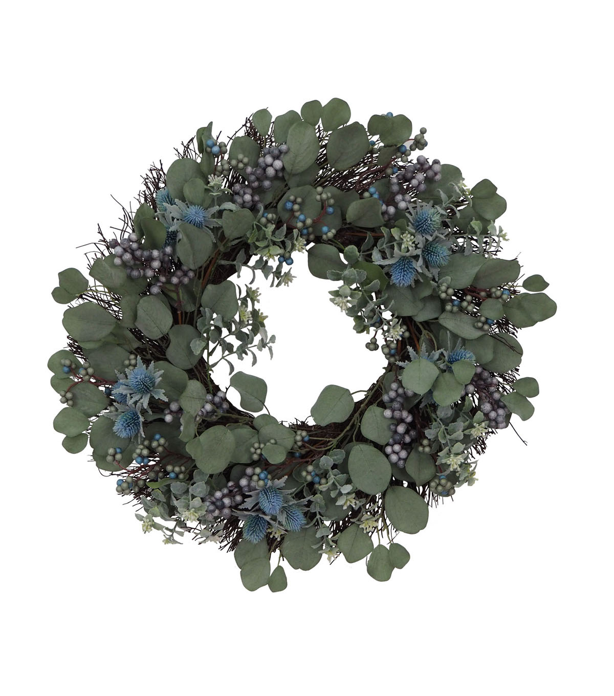Blooming Autumn Thistle & Berry Wreath-Blue