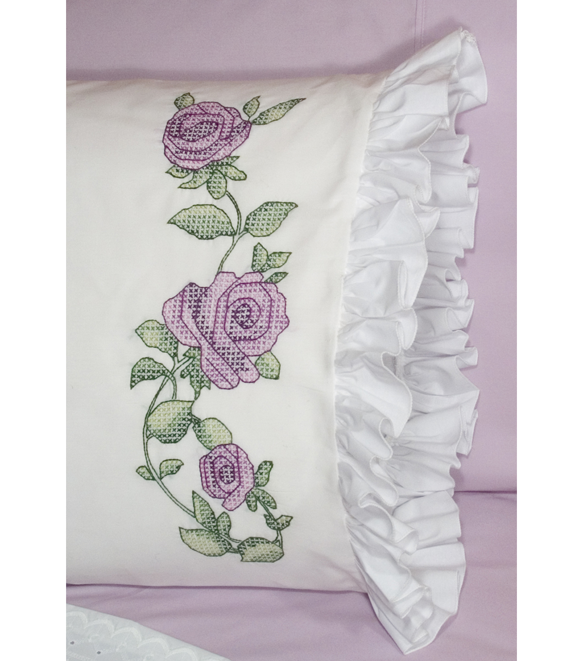 Fairway Stamped Lace Edge Pillowcase Rose Vine