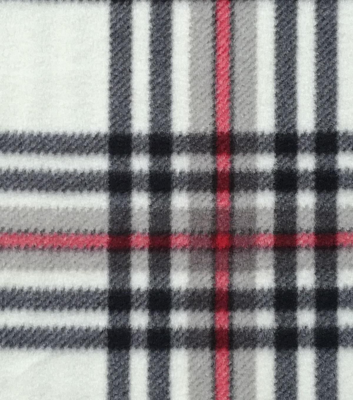 Anti-Pill Fleece Fabric -Champagne & Red Plaid