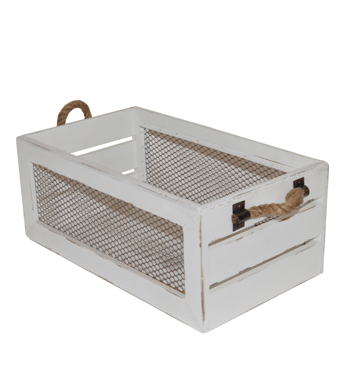 Farm Storage Small Crate with Chicken Wire-White