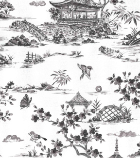 Asian Inspired Cotton Fabric 43\u0022-Asian Landscape Sketch