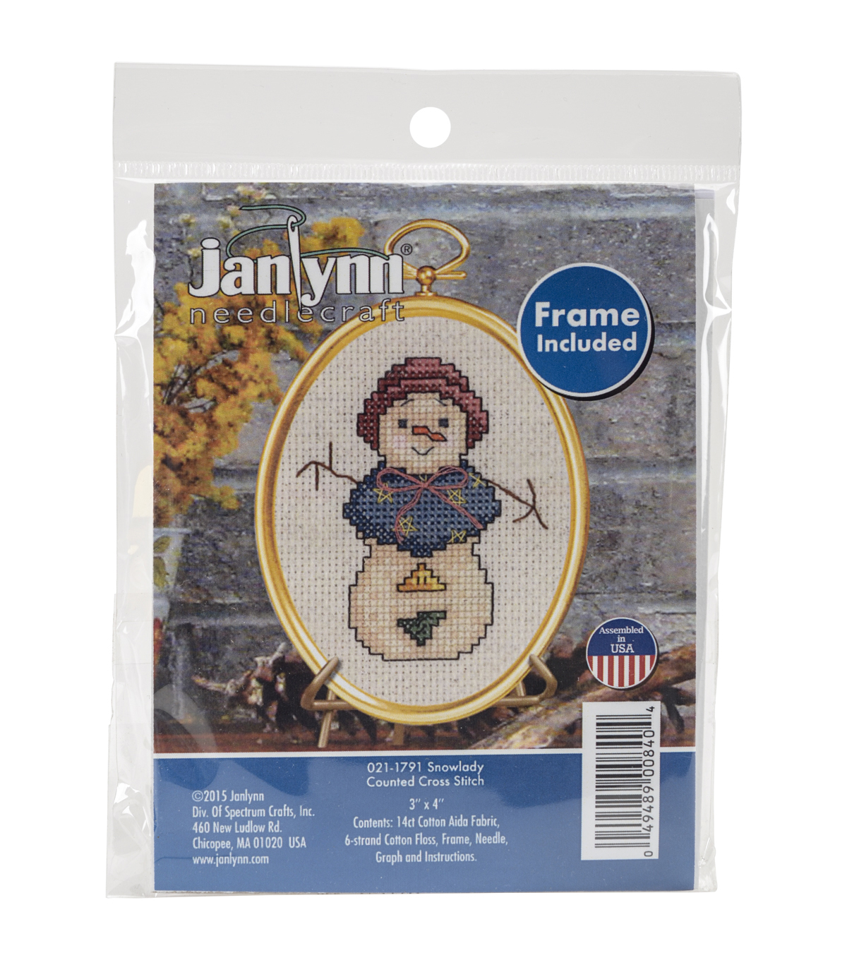 Janlynn Mini Counted Cross Stitch Kit-Snowlady