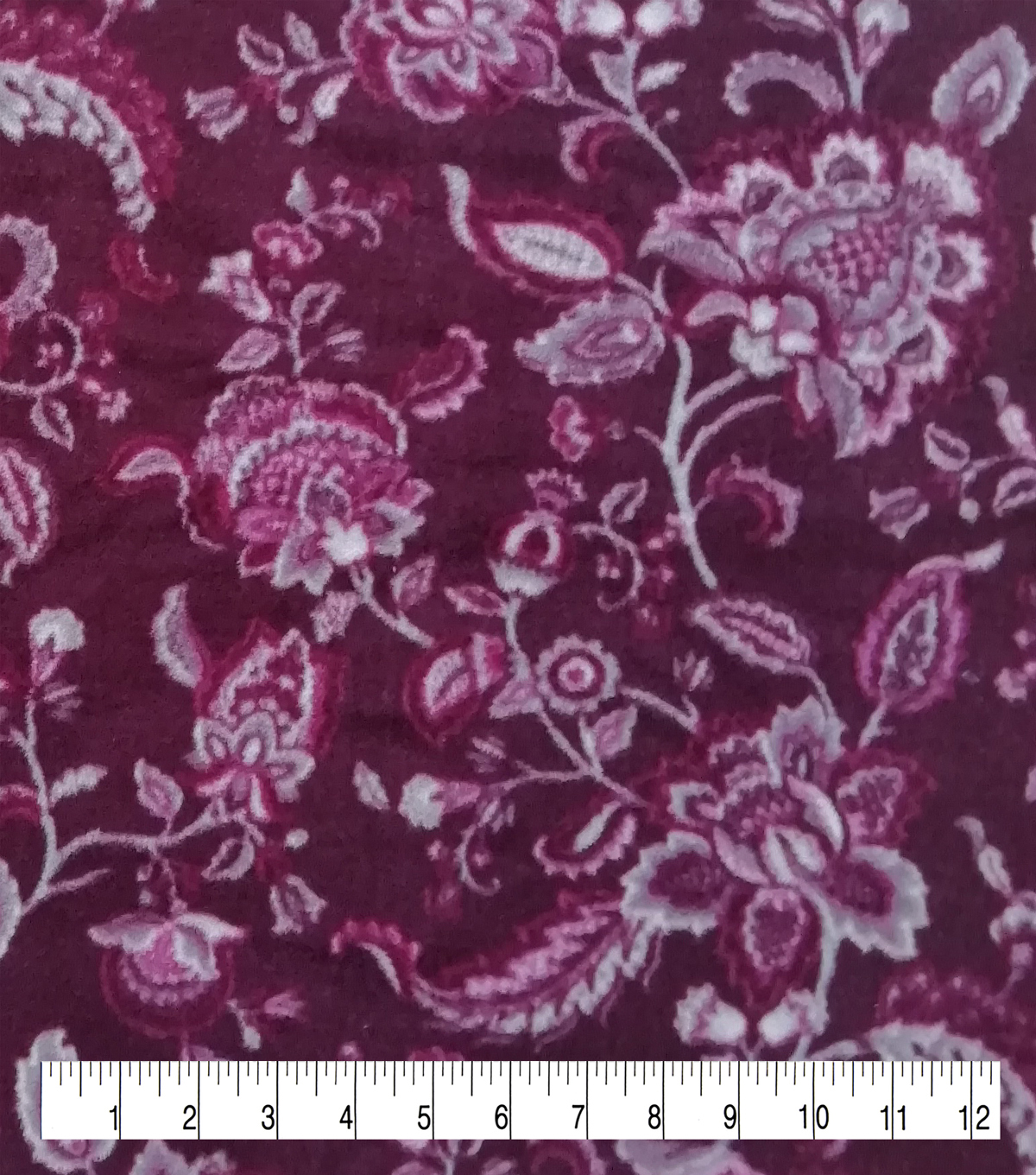 Anti-Pill Plush Fleece Fabric-Regal Wine Floral
