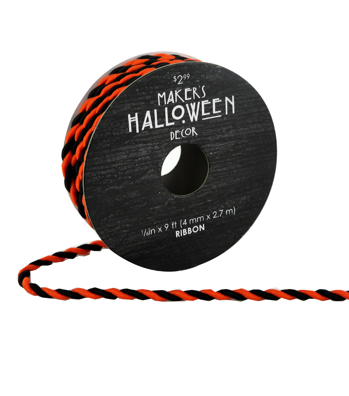 Maker\u0027s Halloween Twist Cord Ribbon 1/6\u0027\u0027x9\u0027-Orange & Black