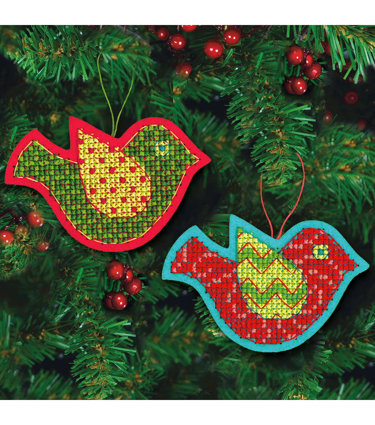 Dimensions 3.5\u0027\u0027x5\u0027\u0027 Jolly Bird Ornament Felt Counted Cross Stitch Kit