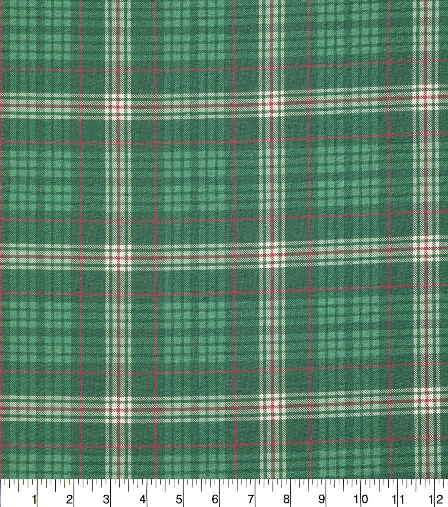 christmas cotton fabric 43u0022 green lodge plaid - Christmas Plaid Fabric