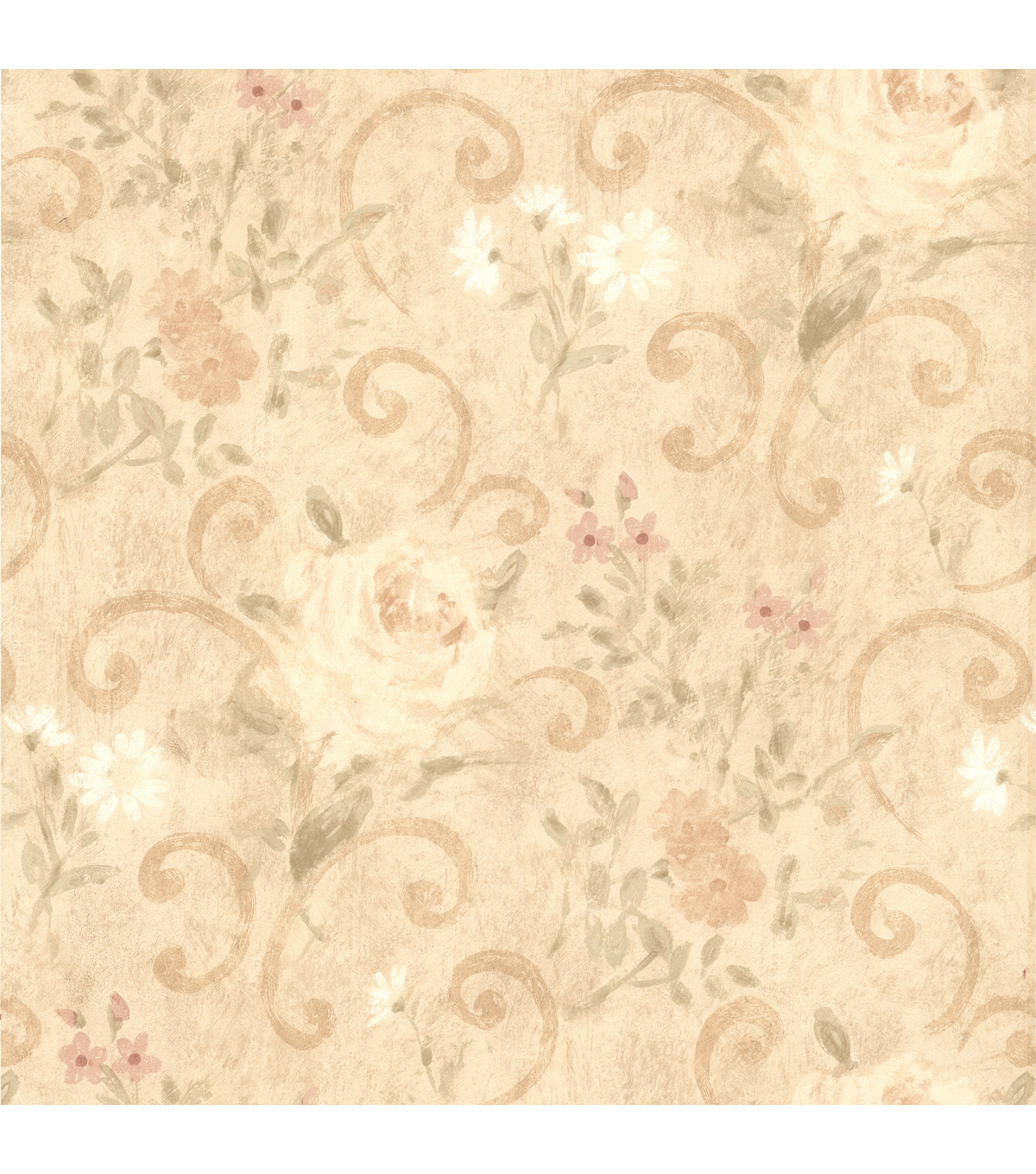 Uma Beige Floral Scroll Wallpaper Sample