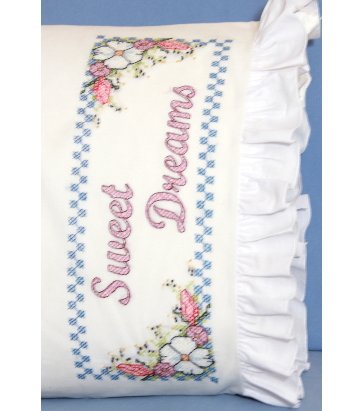 Fairway Stamped Lace Edge Pillowcase Sweet Dreams