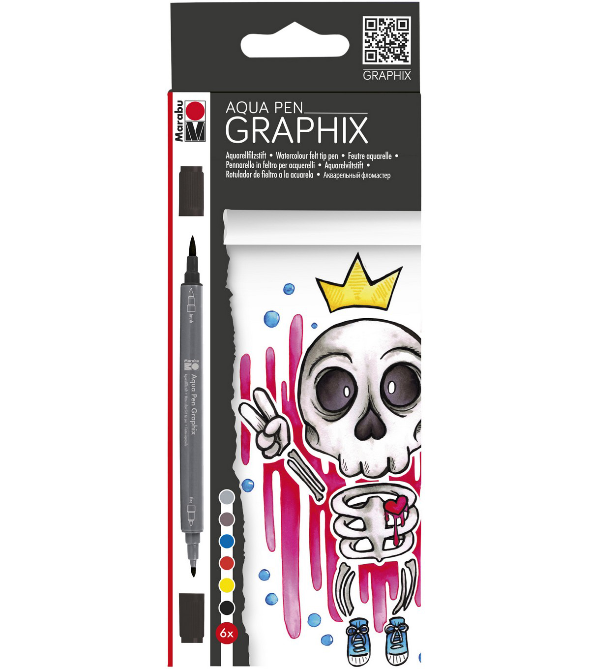 Marabu Graphix 6 pk Dual-tipped Aqua Pens-King of Bubblegum