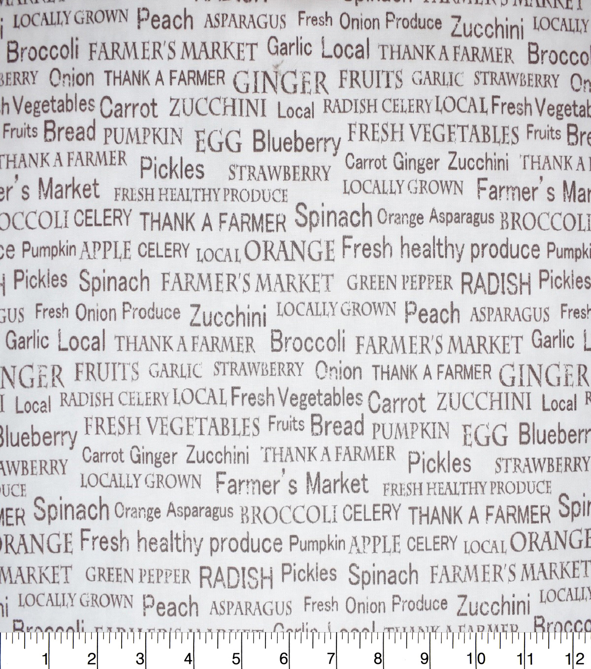Novelty Cotton Fabric-Farmers Market Words