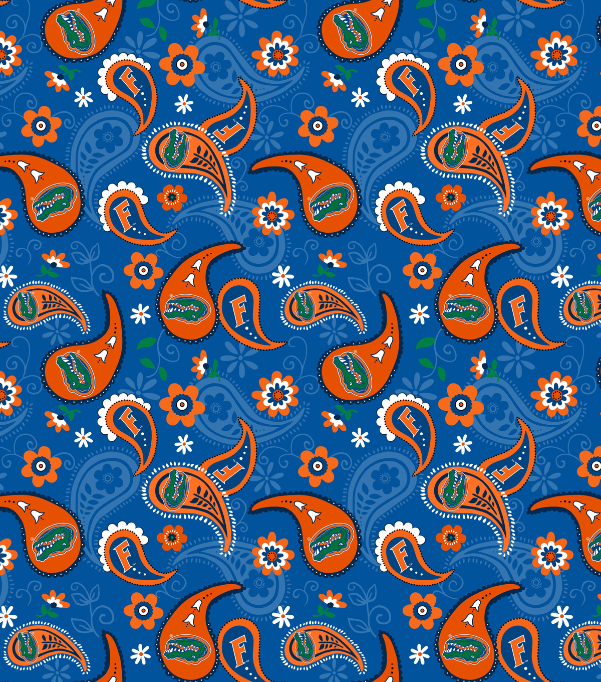 University of Florida Cotton Fabric-Paisley