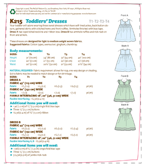 Kwik Sew Pattern K0215 Toddlers\u0027 Notch-Neck Dresses-Size T1-T2-T3-T4