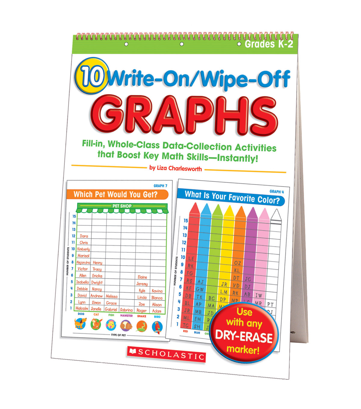 Scholastic 10 Write On/Wipe Off Graphs Flip Chart
