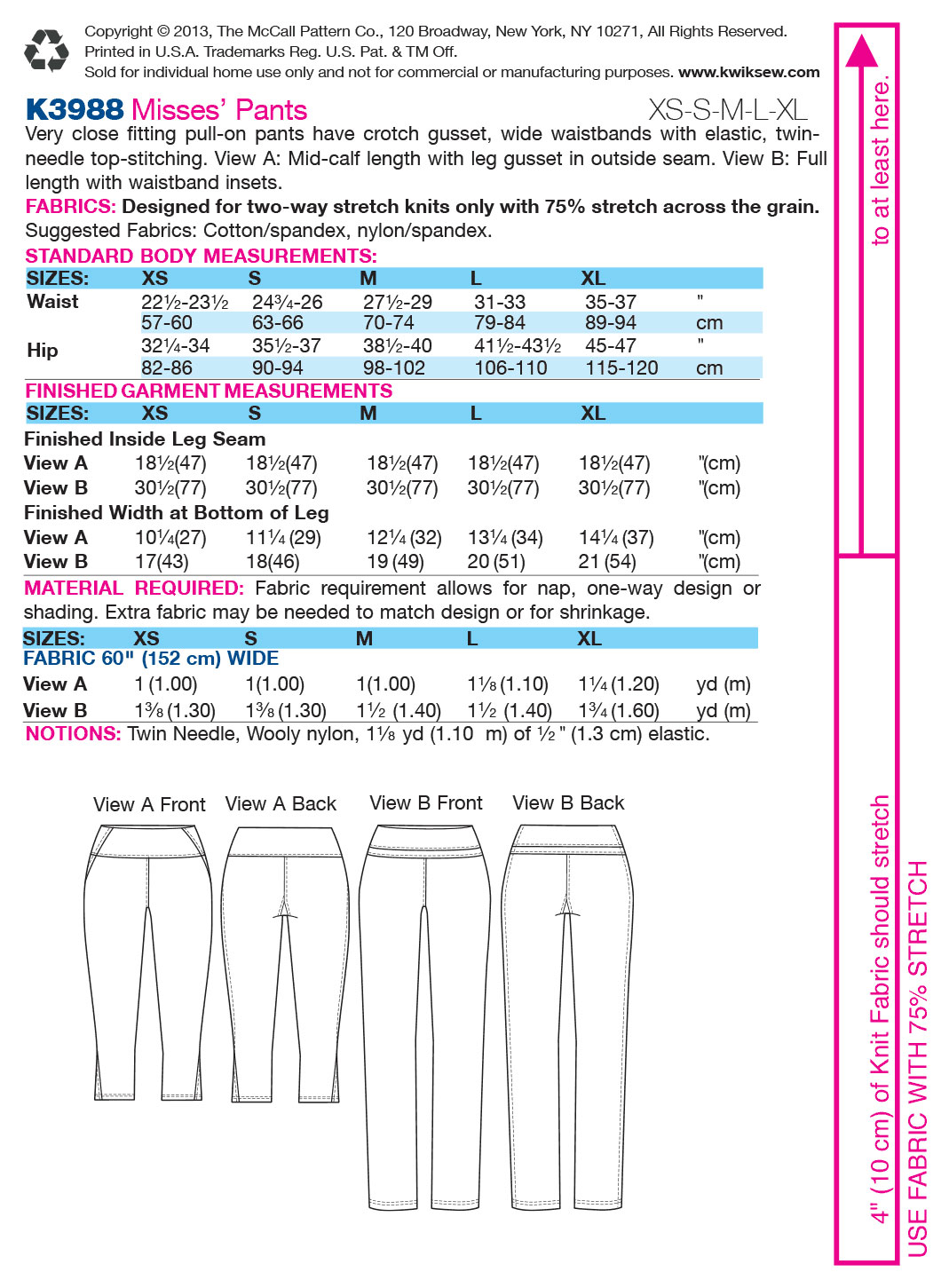 Kwik Sew Misses Pants-K3988