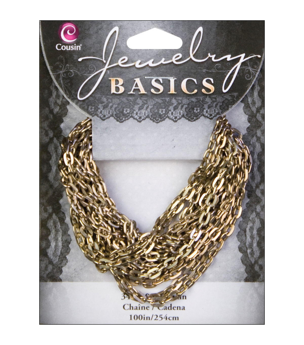 Jewerly Basics Metal Chain 1/Pkg-100 Inch Small Antique Gold Oval