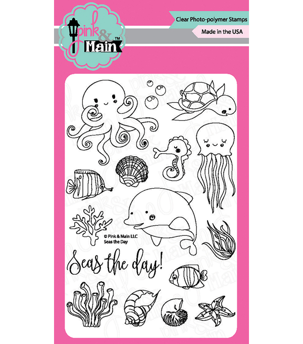 Pink & Main 16 pk Clear Stamps-Seas the Day
