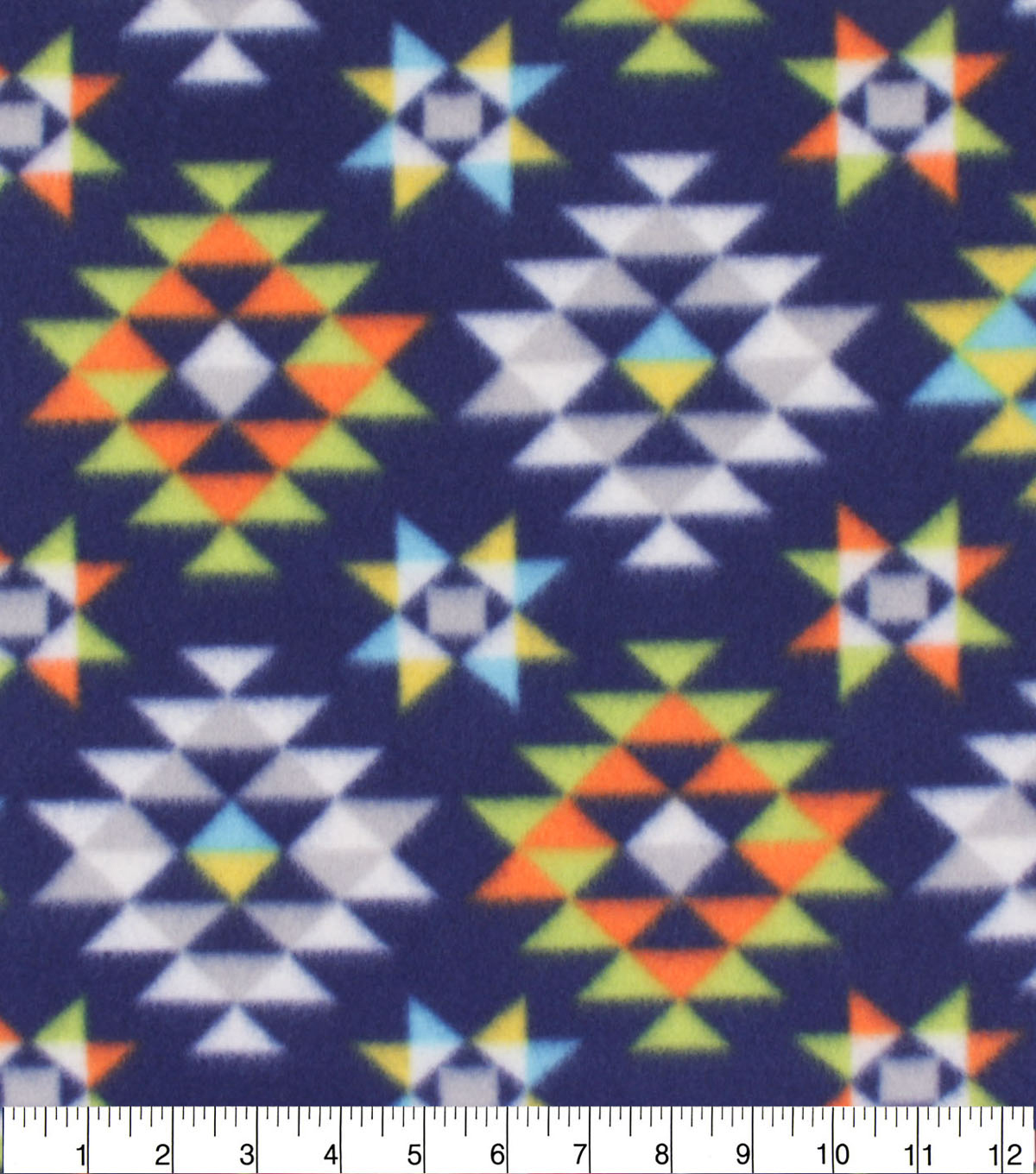 Blizzard Fleece Fabric-Lime & Navy Aztec