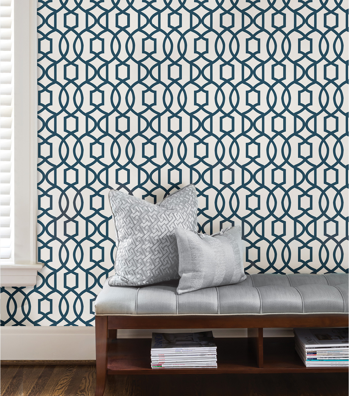 Wallpops Nuwallpaper Navy Grand Trellis L And Stick Wallpaper