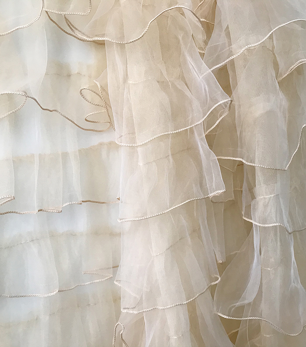 Quinceanera Ruffles On Organza Fabric-Gold