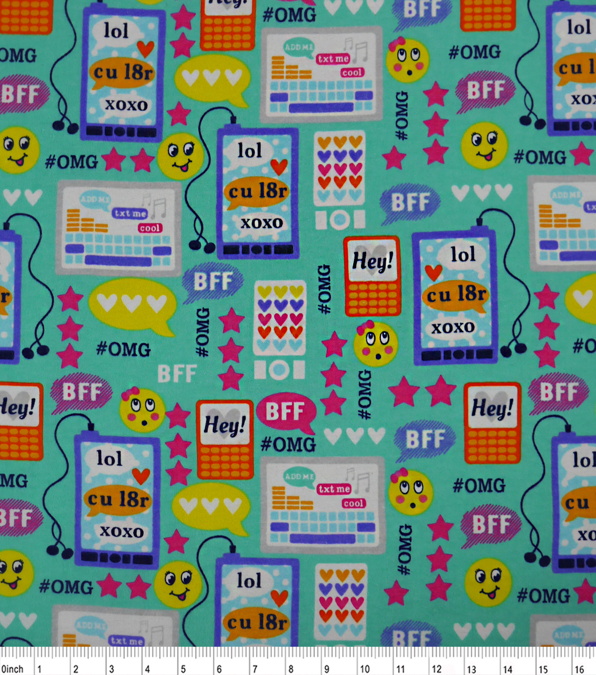 Snuggle Flannel Fabric -Print Hashtag Emoticons