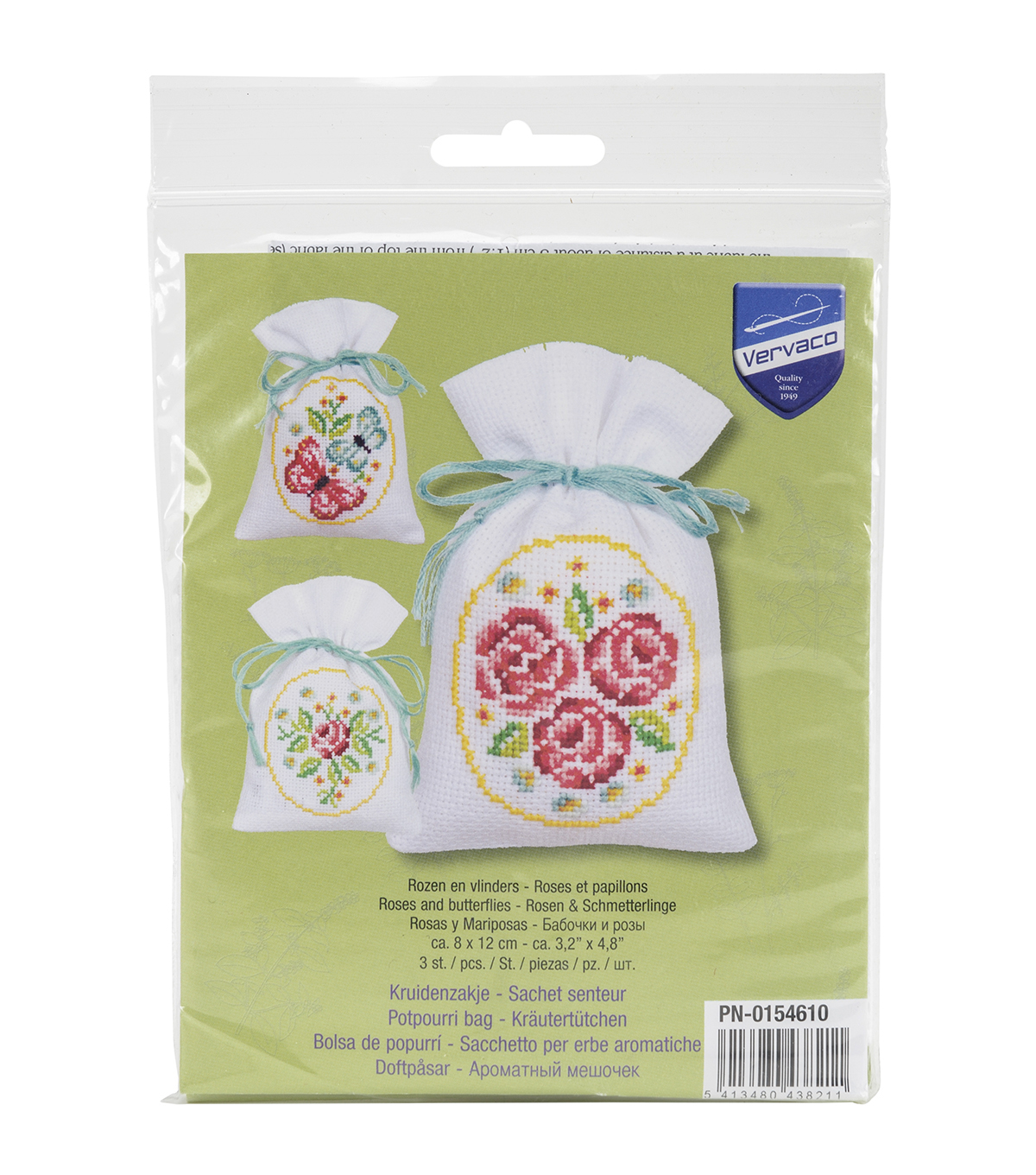 Vervaco Aida Counted Cross Stitch Kit-Roses And Butterflies Bags