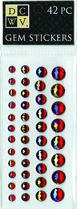 DCWV Iridescent Gem Stickers-Jewel-toned Red Assortment