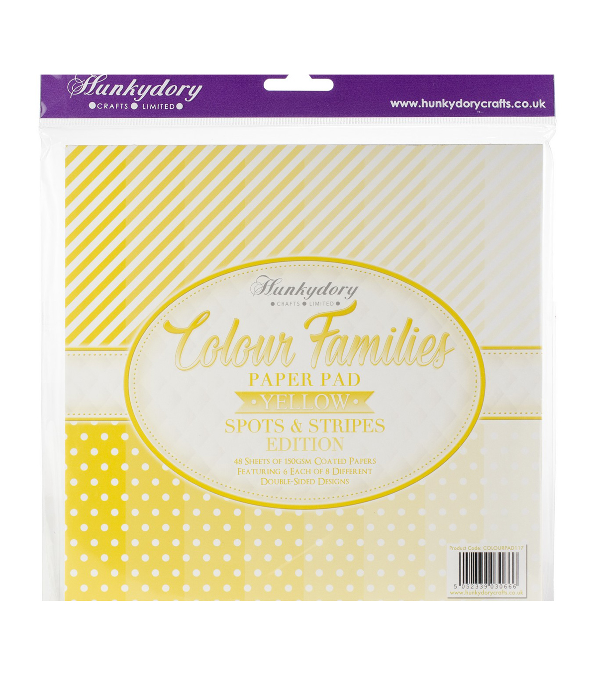 Hunkydory Color Families Paper Pad 8X8 48/Pk-Yellow Spots & Stripes
