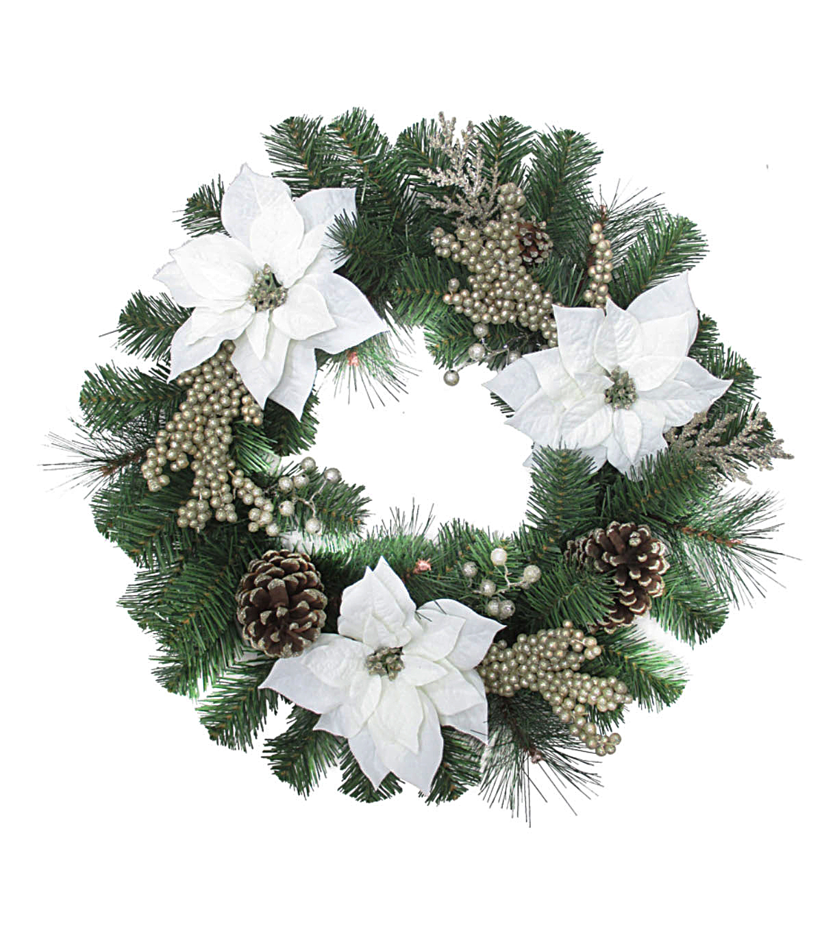 Blooming Holiday Christmas Poinsettia & Berry Wreath-White & Champagne