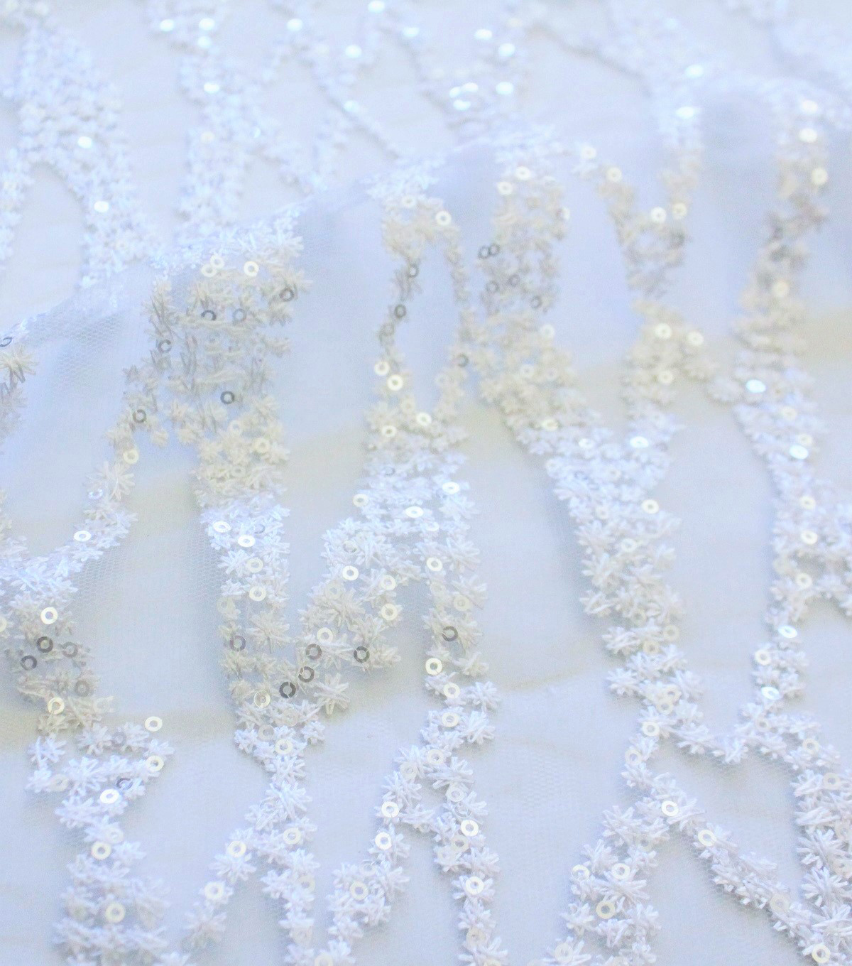 Save The Date Linear Sequin Fabric 54\u0027\u0027-Embroidered with Border