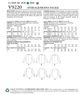 Vogue Pattern V9220 Men\u0027s Standard, Tailored/Slim Fit Shirts-Size 34-40