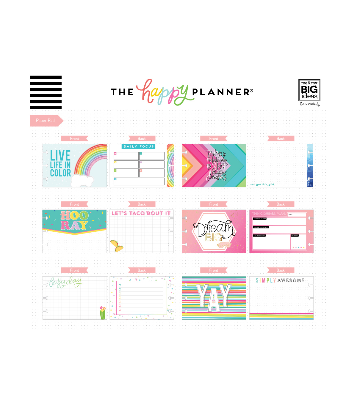 Me & My Big Ideas Coordinated Happy Planner Accessory Pack-Brights