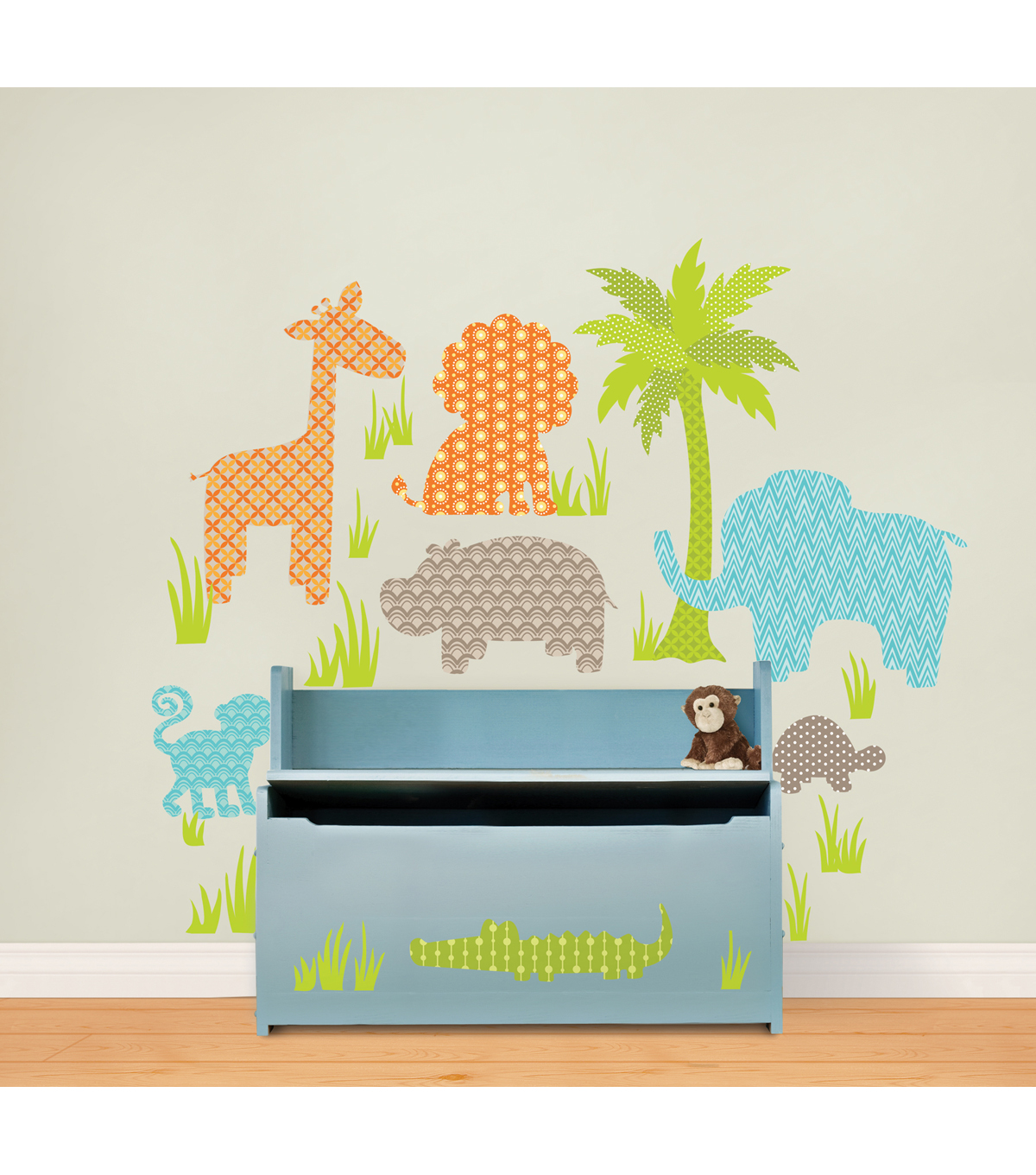 Wall Pops Jungle Friends Wall Art Decal Kit, 41 Piece Set